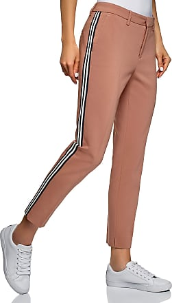 oodji Collection Womens Side Stripe Slim-Fit Trousers, Beige, 14