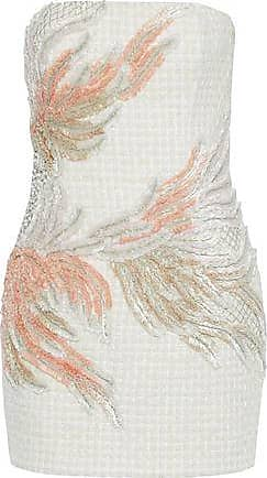 38a36c8f Balmain Balmain Woman Strapless Embellished Tweed Mini Dress Ivory Size 40