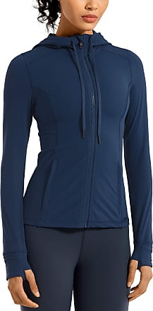CRZ YOGA Womens Matte Brushed Full Zip Hoodie Jacket Sportswear Hooded Workout Jacket with Zip Pockets Propylene Blue 12