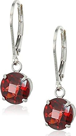 Amazon Collection Sterling Silver Round Checkerboard Cut Garnet Leverback Earrings (8mm)