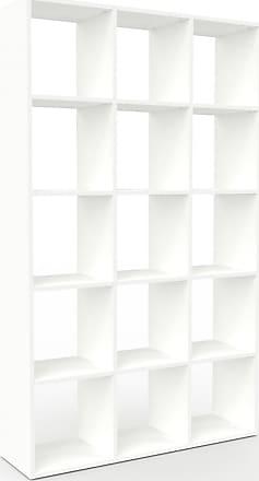 MYCS Bücherregal Weiß - Modernes Regal für Bücher: Hochwertige Qualität, einzigartiges Design - 118 x 195 x 35 cm, Individuell konfigurierbar
