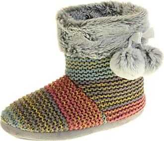 Footwear Studio Dunlop Womens Grey Gold Slipper Boots UK 5-6