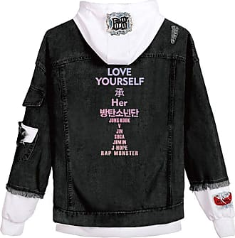 EmilyLe OLIPHEE Womens Casual Denim Jacket Button Splicing Hooded Fangirls Kpop BTS Persona Bangtan Boys Loveyourself Suga Jin Jung Kook RM J-Hope Jimin V lov