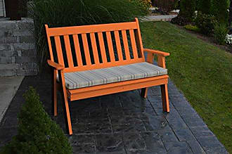 A & L Furniture A & L Furniture 851-O Orange Poly Traditional English Bench, Orange