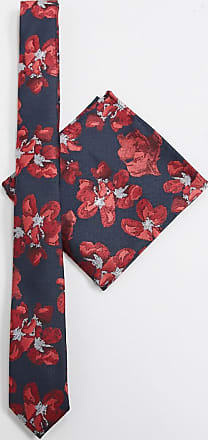 Asos floral slim tie and pocket square in black and red