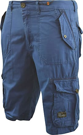 Crosshatch Mens Chinos Cargo Shorts Jeans Combat 3/4 Knee Length Mayfield(W34,Blue)