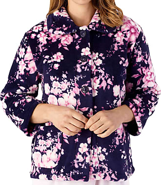 Slenderella Ladies Long Sleeve XX Large Soft Floral Navy Blue & Pink Fleece Button Up Bed Jacket 24 26
