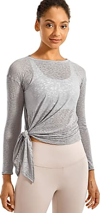 CRZ YOGA Womens Burnout Cottony-Soft Sports Shirt Drapey Fit Side Slit Long Sleeve Top Light Grey 12