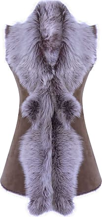 Infinity Ladies Women Real Spanish Shearling Sheepskin Toscana Taupe Long Waistcoat Gilet - Taupe, 2XL - 18