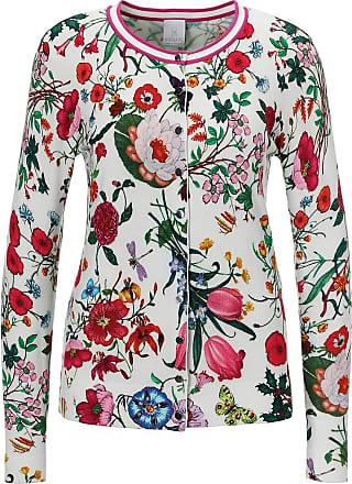 Madeleine Strickjacke mit Blumenmuster in grün MADELEINE Gr 36/38, wollweiß/multicolor für Damen. Polyamid, Viskose. Waschbar