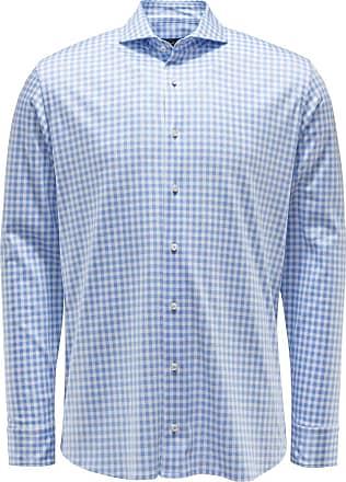 Van Laack Jersey-Hemd Haifisch-Kragen M-Per-L hellblau/weiß kariert