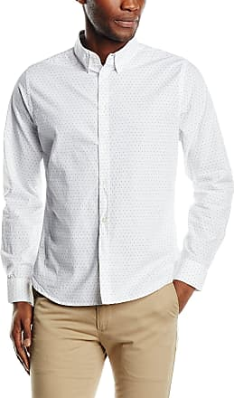 French Connection Mens Dot Contrast Long Sleeve Slim Fit Casual Shirt, White, XX-Large