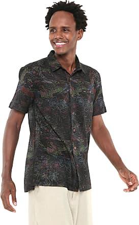 Redley Camisa Redley Reta Estampada Tropical Preta/Verde