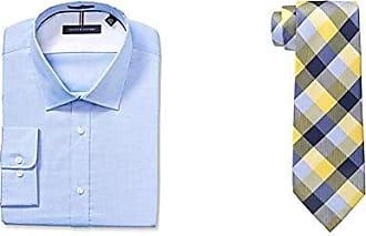 6b0d8b85 Tommy Hilfiger Mens Dress Shirts Non Iron Slim Fit Solid Spread Collar and  Buffalo Tartan Tie
