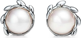 Tiffany & Co. Paloma Picasso Olive Leaf pearl earrings in sterling silver