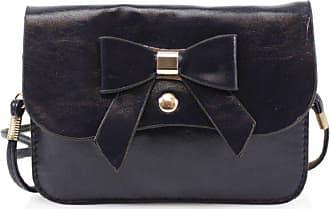 Craze London New Womens Girls Bow Designed Mini Small Cross body bag/Messenger bag for Womens (Black)