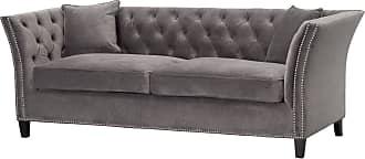 Dekoria Sofa Chesterfield Modern Velvet Dark Grey 3-Sitzer
