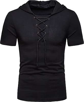 Whatlees Mens Casual Short Sleeve Jacobite Ghillie Shirt Hip Hop Lace-up Hooded T-Shirt 02010041XBlack+XXL