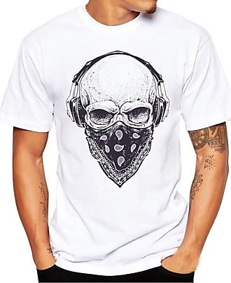FNKDOR Summer Casual Men Hiking Sport Printing Tees Shirt Short Sleeve T Shirt Blouse (UK-22/CN-4XL, White4)