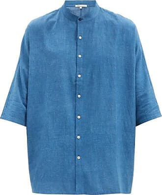11.11 / eleven eleven 11.11 / Eleven Eleven - Band-collar Cotton-canvas Shirt - Mens - Navy