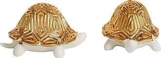Jonathan Adler Tortoise Porcelain Salt & Pepper Shakers - White/Gold