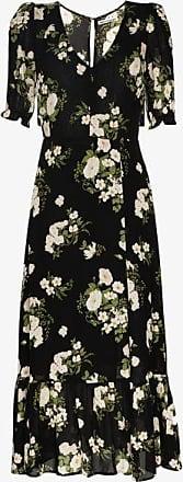 Reformation Womens Black Celeste V-neck Floral Tea Dress