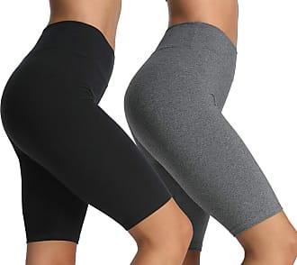 iLoveSIA 2Pack Womens Yoga Shorts Capri Leggings Workout Pants 1/2 Length Black+Grey Size S