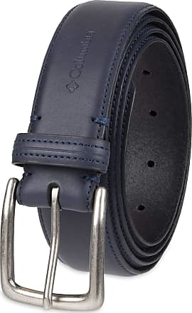 Columbia Mens Casual Leather Belt-Jeans Khakis Dress Silver Prong Buckle, Navy, (Waist : 48)