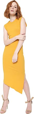 Colcci Vestido Colcci Midi Assimétrico Amarela