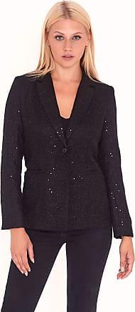 Unique21 Sequin Tweed Blazer UAT90022 (12, Black)