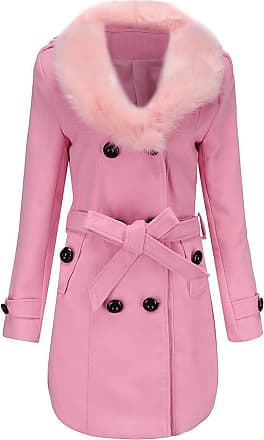 QUINTRA Womens Winter Lapel Wool Coat Trench Jacket Long Sleeve Overcoat Outwear Down Jacket UK 10-22 (20, Pink)
