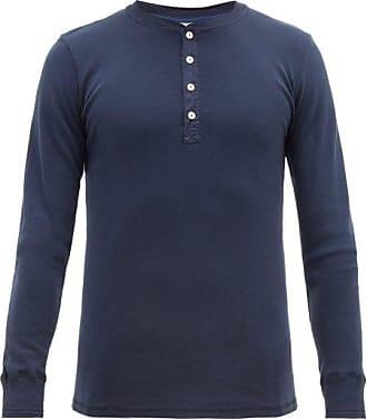 Schiesser Karl Heinz Long-sleeved Cotton Henley Top - Mens - Navy