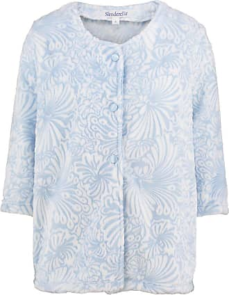 Slenderella Ladies Floral Jacquard Bed Jacket Button Up Super Soft Fleece Housecoat Medium (Blue)
