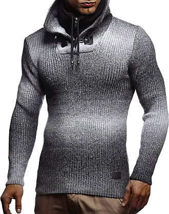 LEIF NELSON Mens Pullover Knit Sweater Chunky Knit Stand-up Collar LN-5750 Black XX-Large