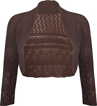 Purple Hanger New Ladies Long Sleeve Crochet Bolero Shrug Top Womens Plain Cropped Knitted Open Cardigan Tops Dark Brown Size 12 - 14