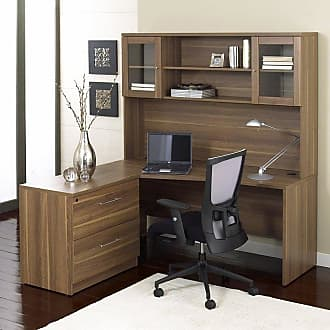 Unique Furniture 100 Collection Corner L-Shaped Desk with Hutch and Lateral File Cabinet Espresso - 1C100001LES