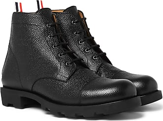 Thom Browne Pebble-grain Leather Cap-toe Boots - Black