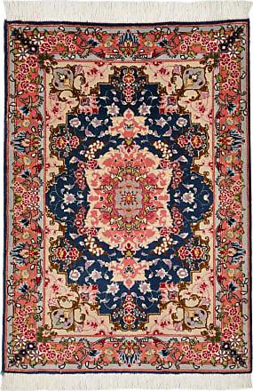 Nain Trading 87x61 Tappeto Tabriz 50Raj Beige/Blu Scuro (Lana / Seta, Persia/Iran, Annodato a mano)