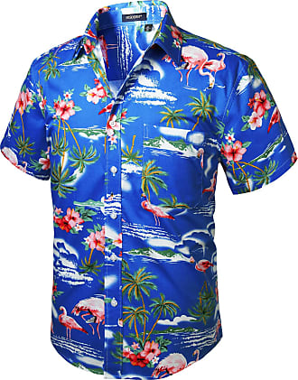 Hisdern Men Funky Hawaiian Flamingo Shirts Short Sleeve Front Pocket Holiday Summer Aloha Printed Beach Casual Blue Hawaii Shirt M