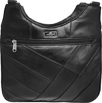Quenchy London Ladies Black Leather 2 Strap Shoulder Handbag - 5 Zip Pockets & Compartments inc Mobile Phone Holder, Medium Size Fashionable Designer Womens Bags - Q