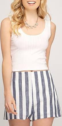 She + Sky Striped Linen Shorts