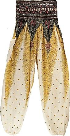 junkai Unisex Yoga Boho Hippy Pants Thai Peacock Print Floral Pattern Harem Trousers Smock High Waist Bloomers White