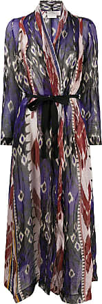 Forte_Forte abstract print belted coat - Blue