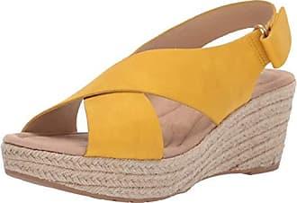580e95fc0f Chinese Laundry Womens Dream Too Wedge Sandal Lemon Yellow Nubuck 7.5 M US
