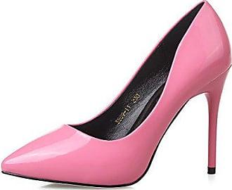17e4e552a4f188 AalarDom Damen Stiletto Rein Weiches Material Spitz Zehe Pumps Schuhe