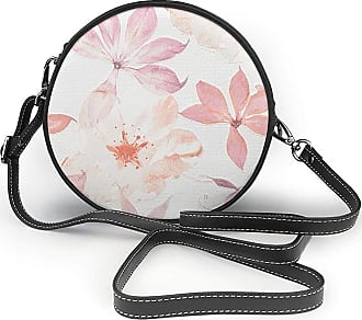 Turfed Hand Painted Pink Flower Print Round Crossbody Bags Women Shoulder Bag Adjustable PU Leather Chain Strap and Top Zipper Small Handbag Handle Tote