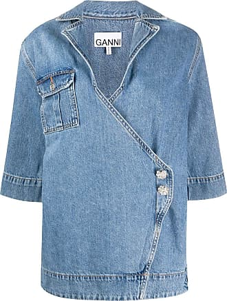 Ganni Blusa jeans com mangas curtas - Azul