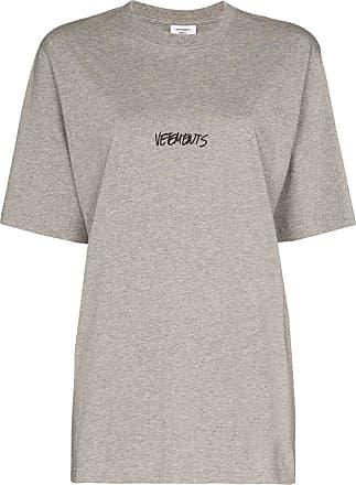 VETEMENTS Camiseta com estampa de logo - Cinza