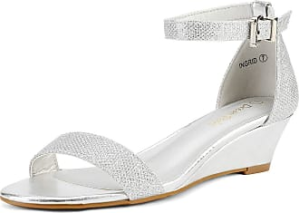 Dream Pairs Womens Ingrid Silver Plaid Ankle Strap Low Wedge Sandals Size 8.5 US/6.5 UK