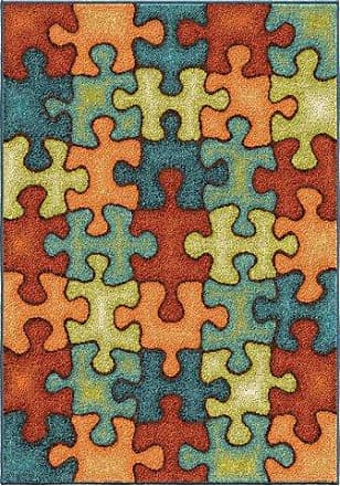 Orian Rugs Kids Court Im Puzzled Area Rug, 52 x 76, Multicolor